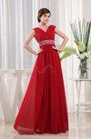 Modern A-line V-neck Sleeveless Chiffon Paillette Prom Dresses