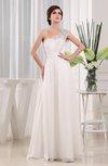 Modest Outdoor A-line Sleeveless Zipper Chiffon Bridal Gowns