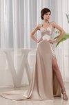 Modest Sheath Halter Sleeveless Elastic Woven Satin Court Train Evening Dresses