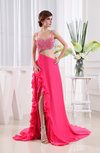 Mature A-line Sleeveless Zipper Knee Length Beaded Prom Dresses