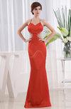Romantic Mermaid Criss-cross Straps Chiffon-Satin Beaded Prom Dresses