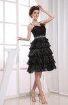 Modest A-line Backless Organza Paillette Little Black Dresses