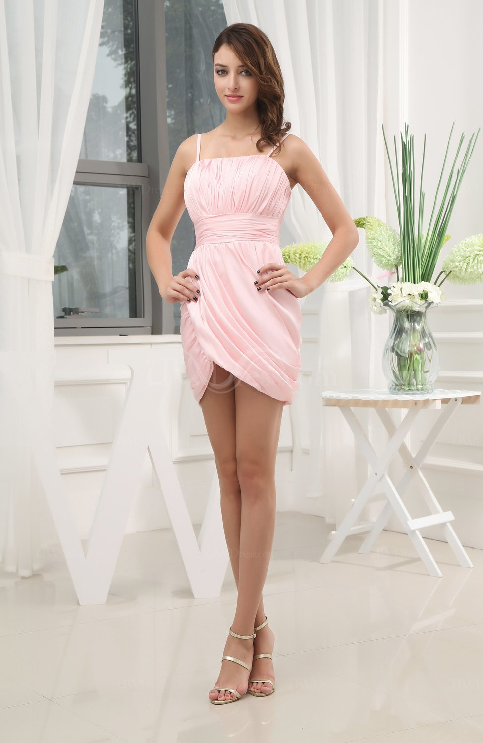 d3f959ae619a Blush Cute Spaghetti Sleeveless Chiffon Short Ruching Wedding Guest Dresses  (Style D19497)
