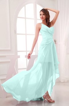 1357586a0872 Blue Glass Romantic Asymmetric Neckline Chiffon Hi-Lo Ruching Wedding Guest  Dresses