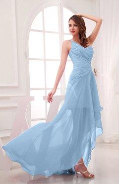 e61b72039cce Sky Blue Romantic Asymmetric Neckline Chiffon Hi-Lo Ruching Wedding Guest  Dresses