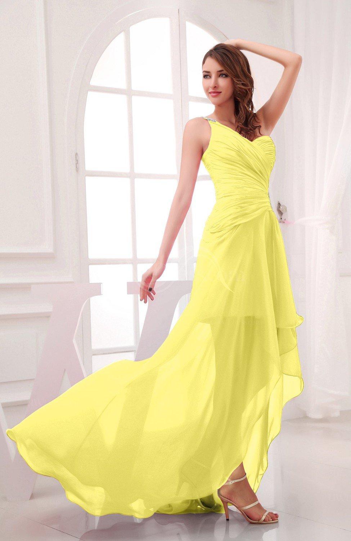 yellow iris romantic asymmetric neckline chiffon hilo