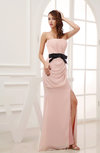 Plain Sheath Strapless Zip up Chiffon Floor Length Mother of the Bride Dresses