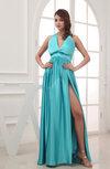 Gorgeous V-neck Sleeveless Zipper Silk Like Satin Bow Wedding Guest Dresses