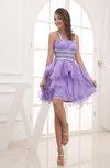 Cinderella Sleeveless Criss-cross Straps Organza Short Rhinestone Graduation Dresses