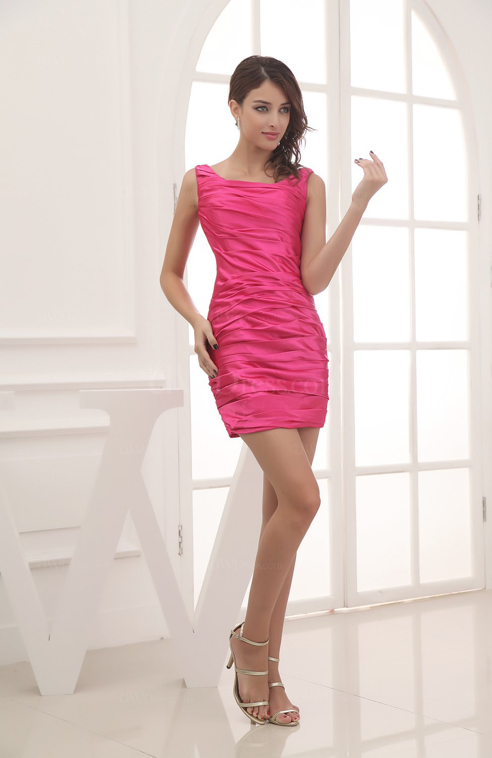 51c8217414a1 Hot Pink Modest Column Scoop Zipper Short Ruching Wedding Guest Dresses  (Style D55196)