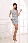 Modest Column Scoop Zipper Short Ruching Wedding Guest Dresses