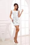 Modest Column Scoop Zipper Short Ruching Wedding Guest Dresses