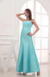 Plain Spaghetti Sleeveless Taffeta Ankle Length Rhinestone Evening Dresses