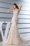 Modest Church Sleeveless Zip up Court Train Sequin Bridal Gowns