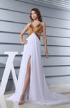 Classic Garden A-line Spaghetti Sleeveless Criss-cross Straps Split-Front Bridal Gowns