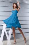 Plain Asymmetric Neckline Sleeveless Chiffon Mini Bridesmaid Dresses