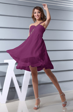 fb88d144d4e Raspberry Plain Asymmetric Neckline Sleeveless Chiffon Mini Bridesmaid  Dresses
