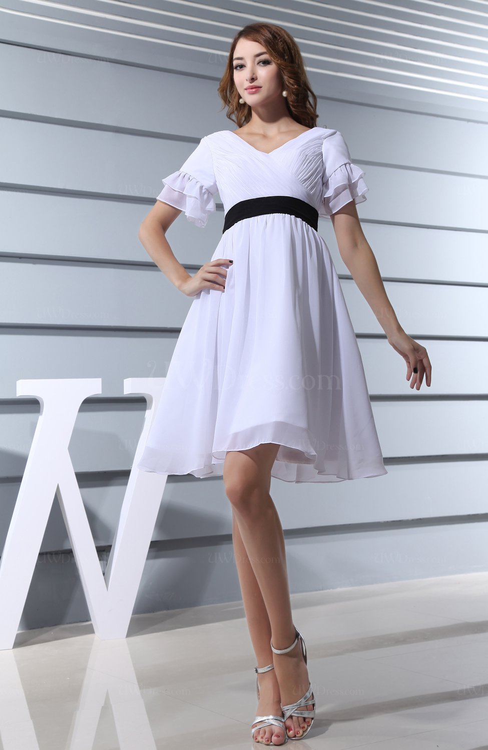 b8a42bd9988 White Classic A-line V-neck Zip up Chiffon Ruching Homecoming Dresses  (Style D89688)