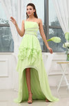 Glamorous Garden Asymmetric Neckline Sleeveless Backless Chiffon Sequin Bridal Gowns