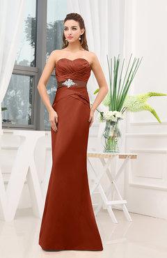897e3362057 Rust Plain Sheath Sweetheart Zipper Floor Length Ruching Wedding Guest  Dresses