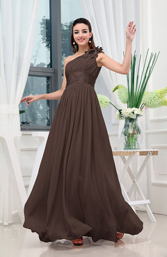 333702973c6 Chocolate Brown Classic A-line One Shoulder Sleeveless Zipper Sash Cocktail  Dresses
