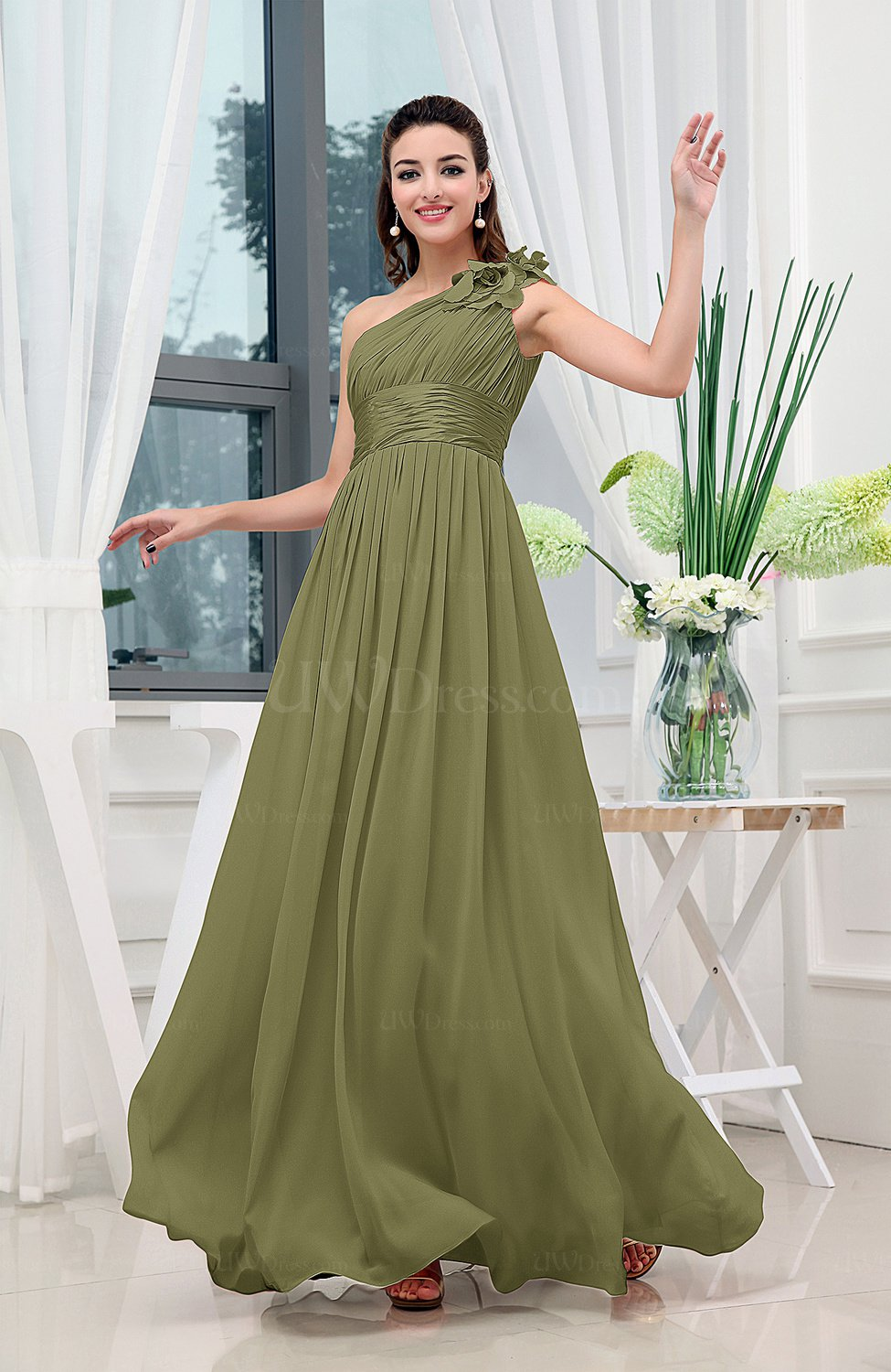 22710e6057d Olive Green Classic A-line One Shoulder Sleeveless Zipper Sash Cocktail  Dresses (Style D26602)
