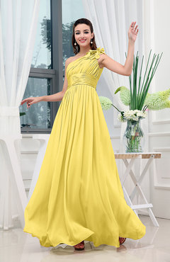 fb1c5837bd Pale Yellow Classic A-line One Shoulder Sleeveless Zipper Sash Cocktail  Dresses