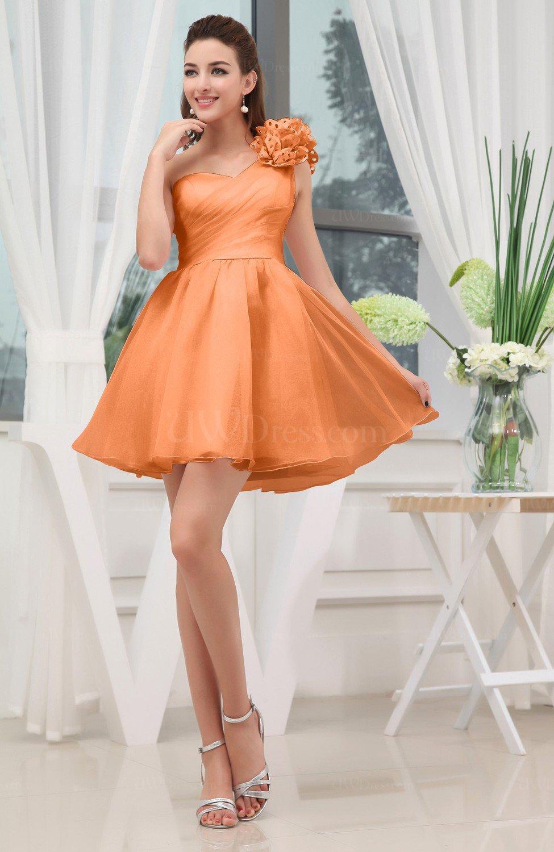 888ffacd7ae Elegant Asymmetric Neckline Zipper Organza Short Ruching Graduation Dresses