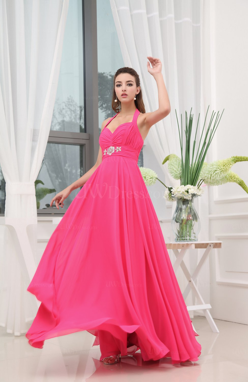 Elegant A Line Halter Backless Chiffon Rhinestone Prom