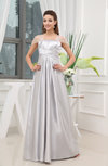 Elegant Empire Short Sleeve Zip up Satin Floor Length Prom Dresses