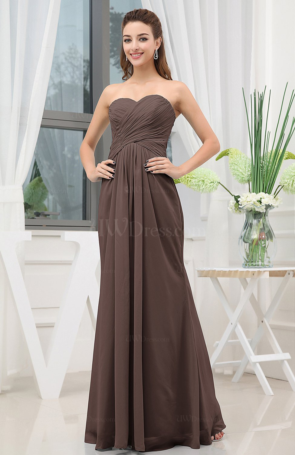 7b127fec134 Chocolate Brown Simple Sweetheart Sleeveless Zipper Floor Length Ruching Bridesmaid  Dresses (Style D64807)
