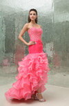 Romantic Trumpet Backless Sweep Train Beaded Evening Dresses