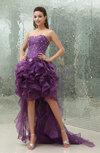 Modest Garden Zipper Organza Hi-Lo Paillette Bridal Gowns