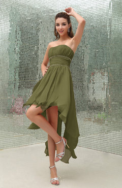 774abd12963 Olive Green Plain Sleeveless Zipper Chiffon Ankle Length Ruching Wedding  Guest Dresses