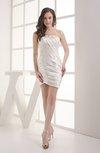 Romantic Column Sleeveless Satin Mini Edging Graduation Dresses