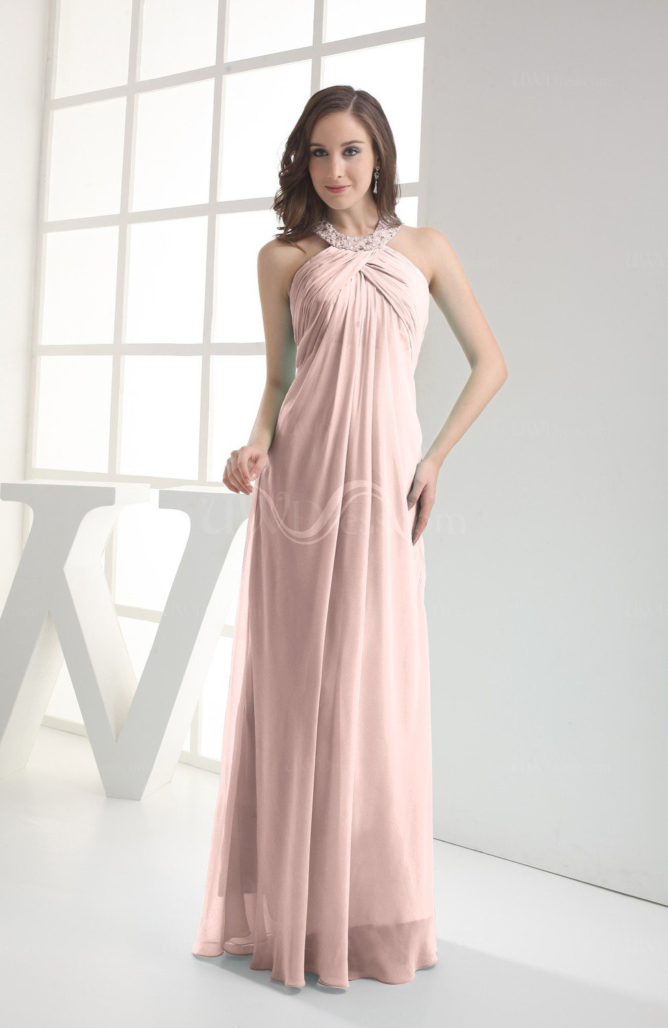 7a0f001cc7235 Dusty Rose Modest Sleeveless Backless Chiffon Floor Length Ruching Bridesmaid  Dresses (Style D80113)
