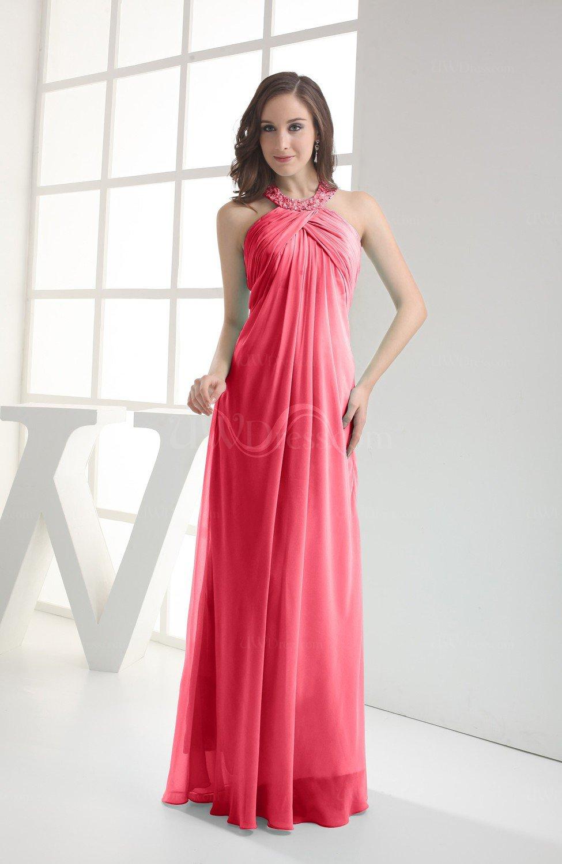 Guava Modest Sleeveless Backless Chiffon Floor Length Ruching Bridesmaid Dresses