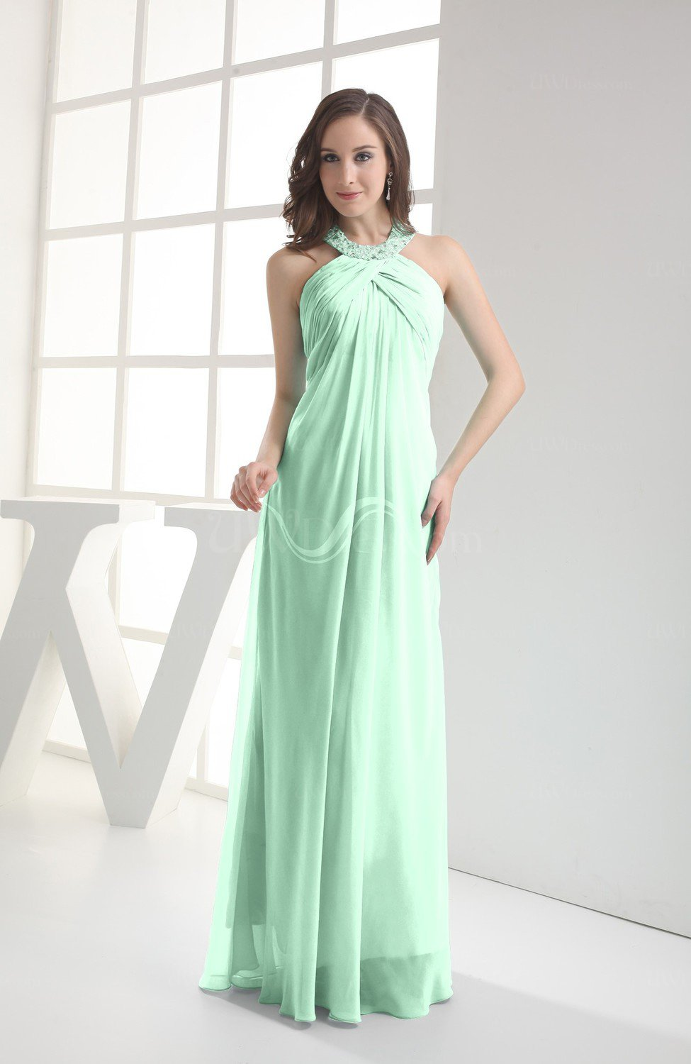 a520dda55c24 Honeydew Modest Sleeveless Backless Chiffon Floor Length Ruching Bridesmaid  Dresses (Style D80113). ColsBM Michelle Honeydew Simple A-line ...