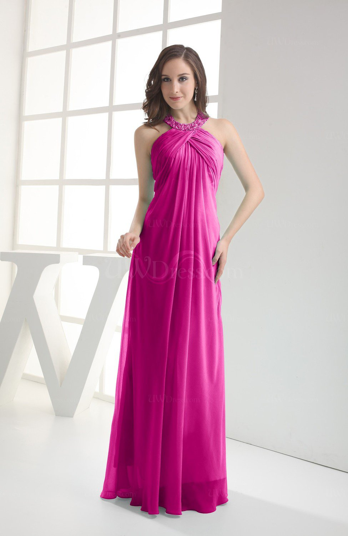 3a144464153 Hot Pink Modest Sleeveless Backless Chiffon Floor Length Ruching Bridesmaid  Dresses (Style D80113)