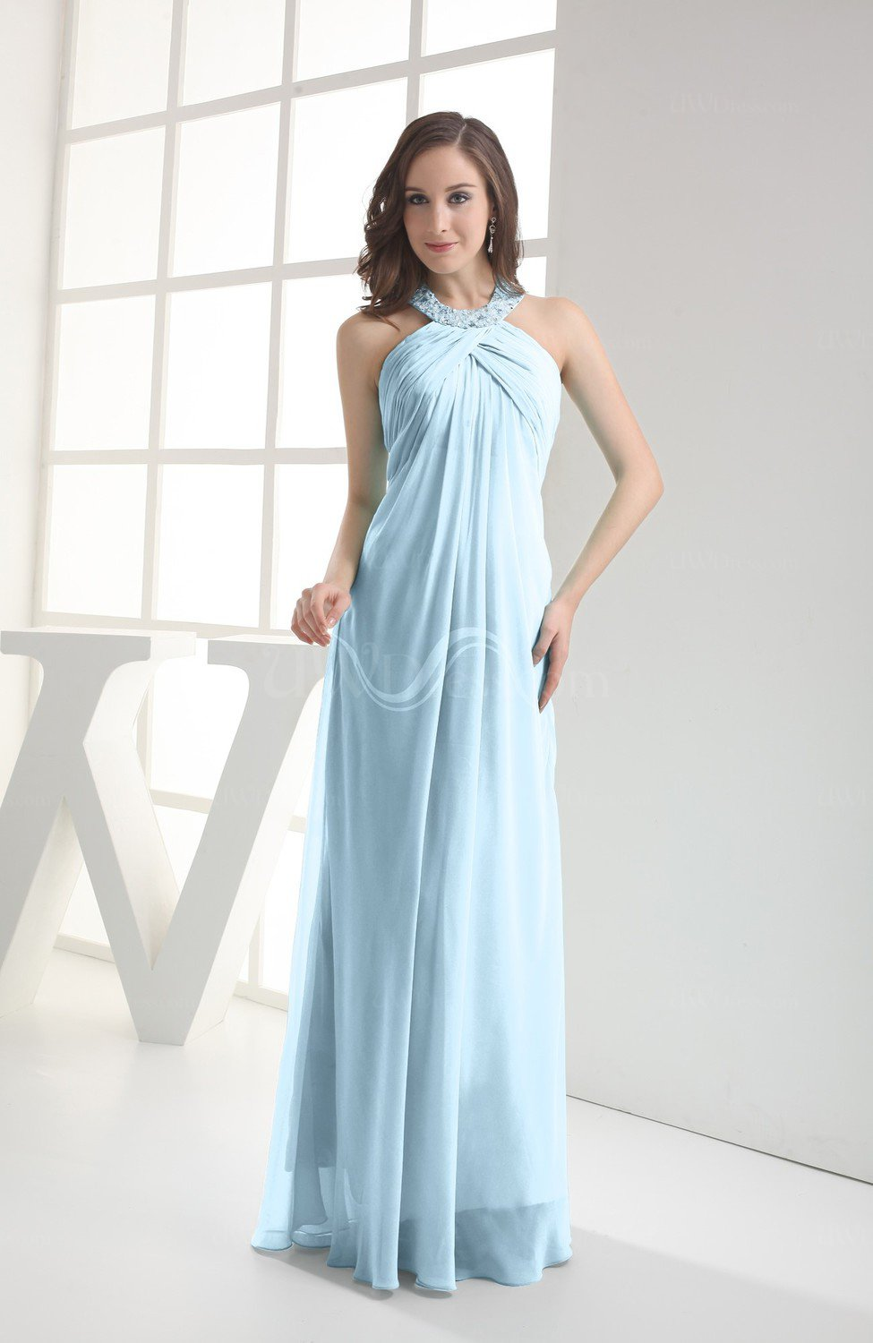 c78e24126 Ice Blue Modest Sleeveless Backless Chiffon Floor Length Ruching Bridesmaid  Dresses (Style D80113)