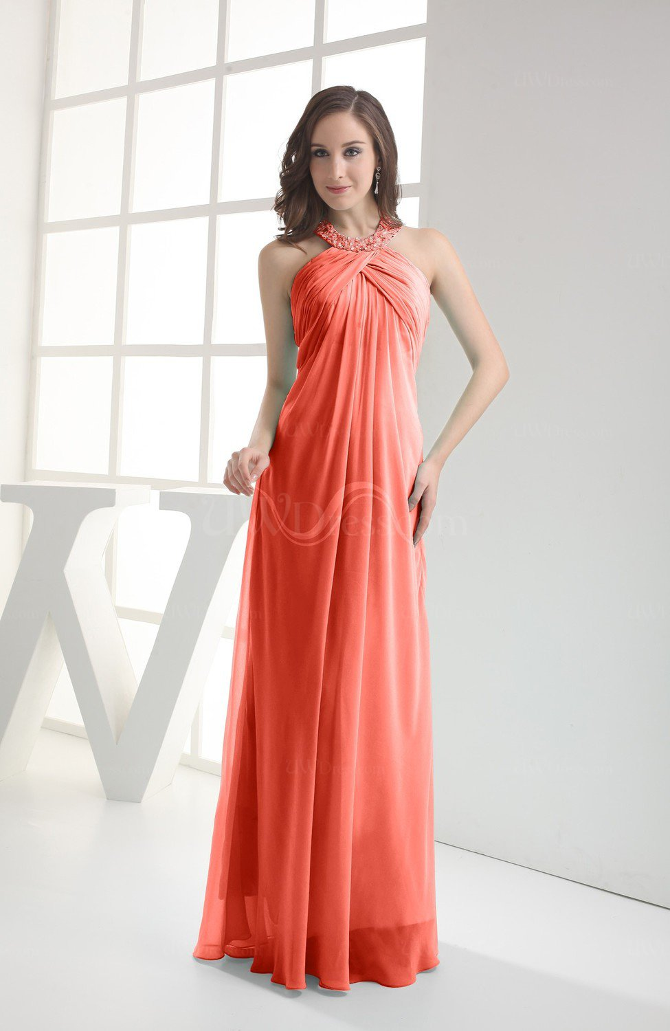 6e319ee1424f Living Coral Modest Sleeveless Backless Chiffon Floor Length Ruching Bridesmaid  Dresses (Style D80113)
