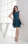 Cute Column Asymmetric Neckline Chiffon Short Wedding Guest Dresses