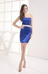 Plain Strapless Sleeveless Zip up Mini Sash Wedding Guest Dresses