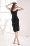 Classic Sheath Sleeveless Tea Length Sequin Graduation Dresses