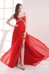 Plain Column Thick Straps Chiffon Beaded Wedding Guest Dresses