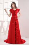 Vintage V-neck Short Sleeve Zipper Brush Train Sash Prom Dresses