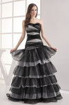 Informal A-line Zip up Organza Floor Length Tiered Evening Dresses