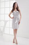 Cute Sleeveless Elastic Woven Satin Short Ruching Bridesmaid Dresses