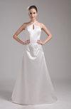 Elegant Church Spaghetti Backless Satin Sweep Train Beaded Bridal Gowns