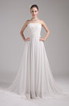 Simple Hall A-line Sleeveless Zip up Beading Bridal Gowns